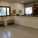 reception and waiting area in veterinary clinic