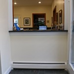 reception checkout desk at vet clinic