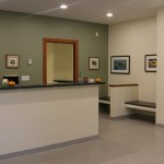 reception area at vet clinic with fish tank